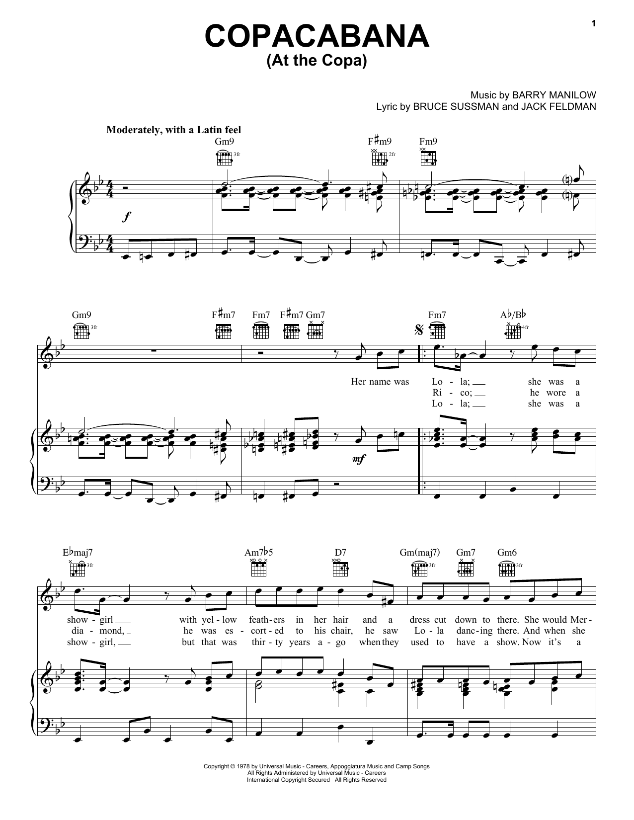 Barry Manilow Copacabana (At The Copa) sheet music notes and chords. Download Printable PDF.