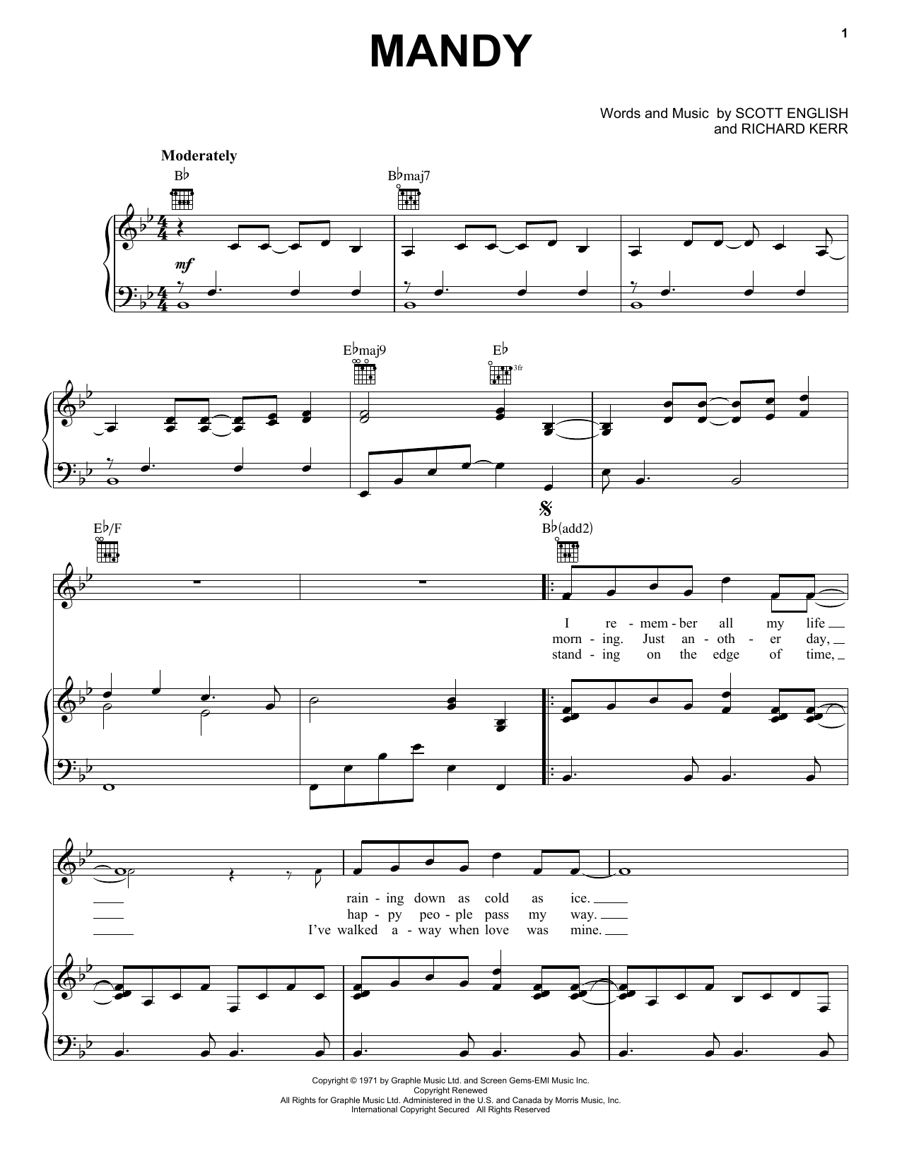 Barry Manilow Mandy sheet music notes and chords. Download Printable PDF.