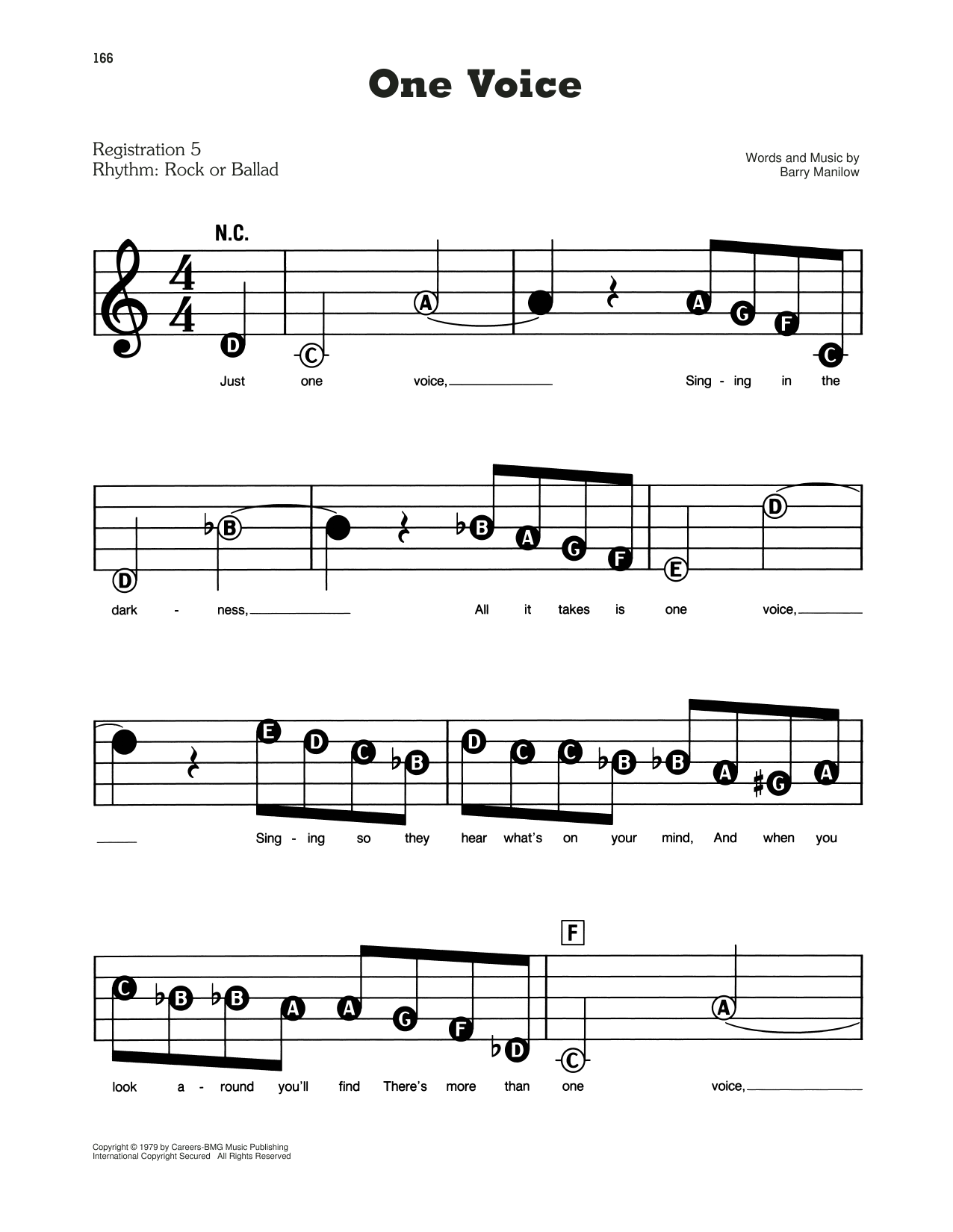 Barry Manilow One Voice Sheet Music Notes, Chords   Download Printable E Z  Play Today PDF Score   SKU 15