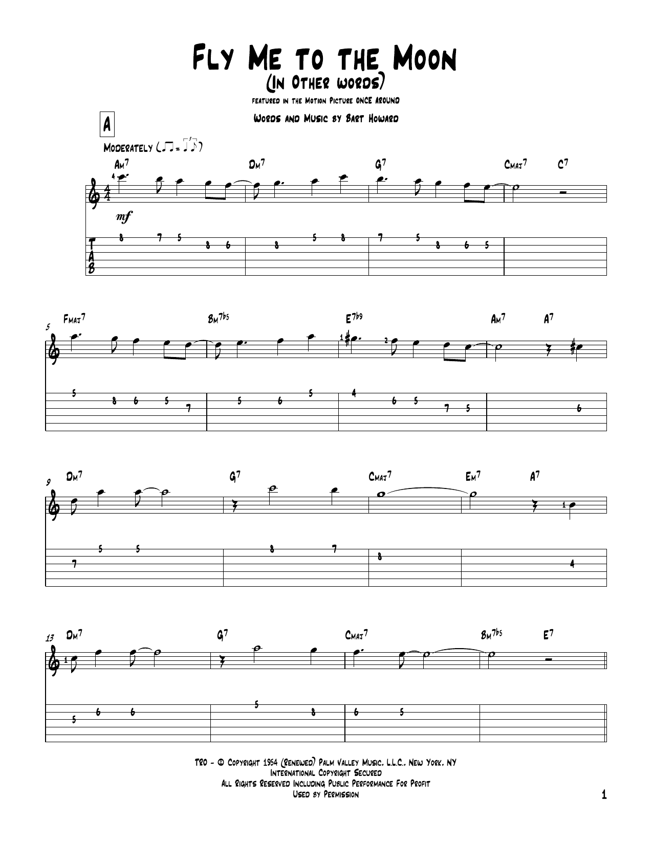 Bart Howard Fly Me To The Moon (In Other Words) sheet music notes and chords. Download Printable PDF.