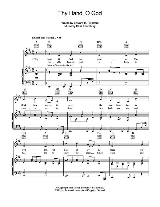 Basil Thornbury Thy Hand, O God sheet music notes and chords. Download Printable PDF.