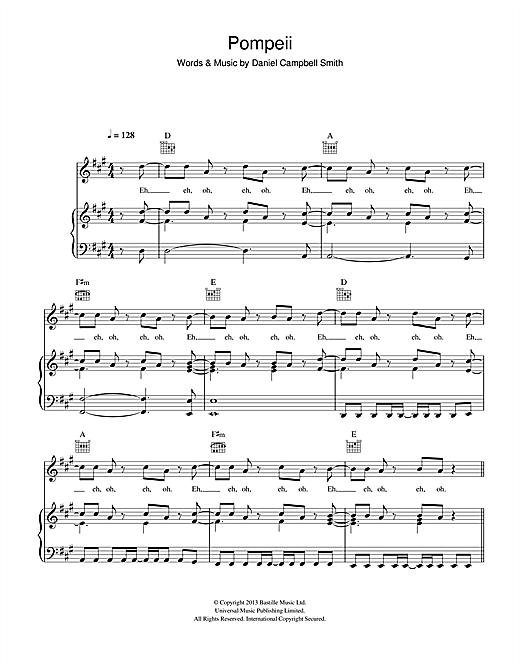 Bastille Pompeii sheet music notes and chords. Download Printable PDF.