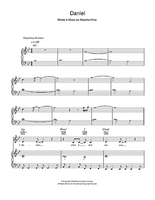 Bat For Lashes Daniel sheet music notes and chords. Download Printable PDF.