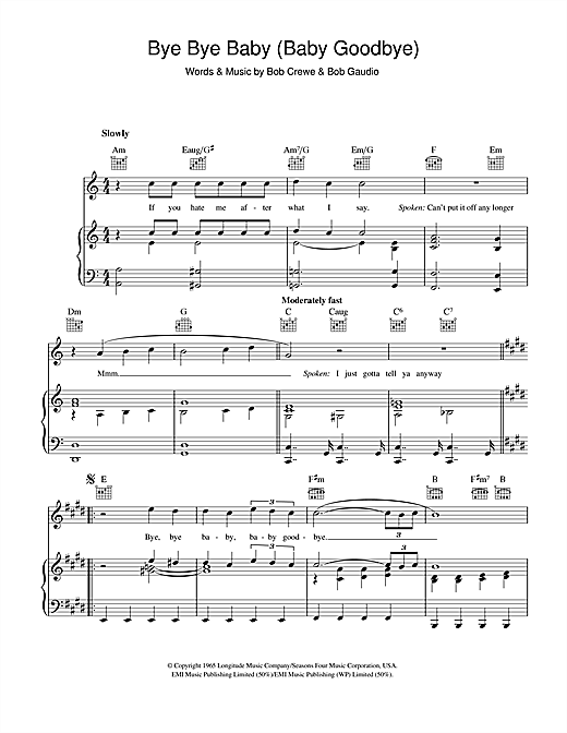 Bay City Rollers Bye Bye Baby (Baby Goodbye) sheet music notes and chords. Download Printable PDF.