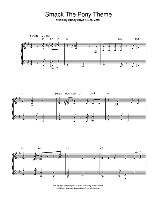 Bea Verdi Smack The Pony Theme sheet music notes and chords. Download Printable PDF.
