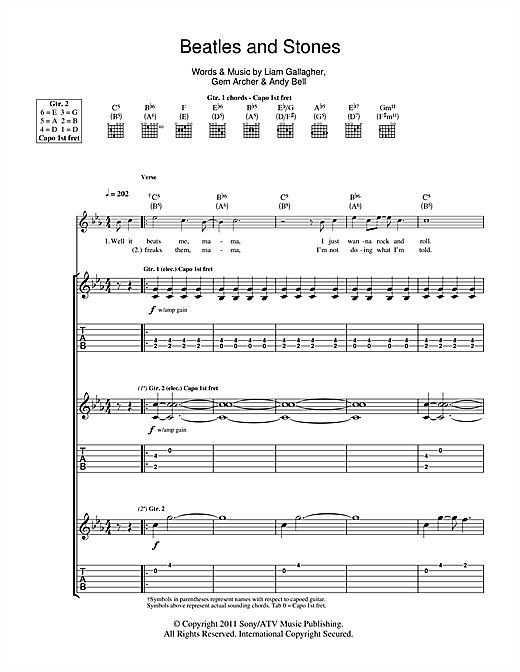 Beady Eye Beatles And Stones sheet music notes and chords. Download Printable PDF.