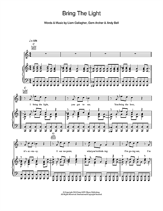 Beady Eye Bring The Light sheet music notes and chords. Download Printable PDF.