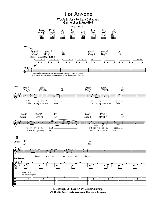 Beady Eye For Anyone sheet music notes and chords. Download Printable PDF.