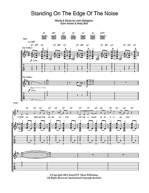 Beady Eye Standing On The Edge Of The Noise sheet music notes and chords. Download Printable PDF.