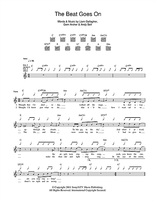 Beady Eye The Beat Goes On sheet music notes and chords. Download Printable PDF.