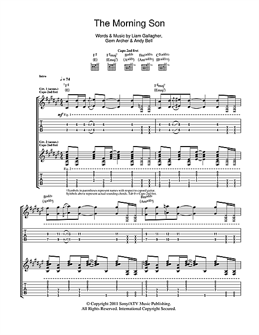 Beady Eye The Morning Son sheet music notes and chords. Download Printable PDF.