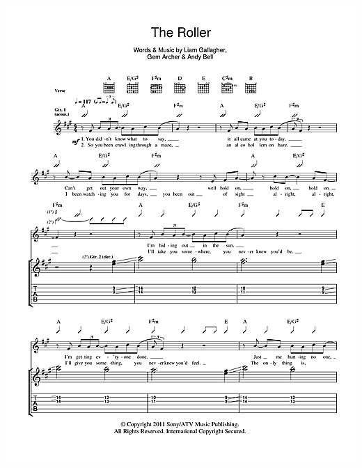 Beady Eye The Roller sheet music notes and chords. Download Printable PDF.