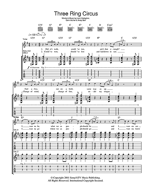 Beady Eye Three Ring Circus sheet music notes and chords. Download Printable PDF.