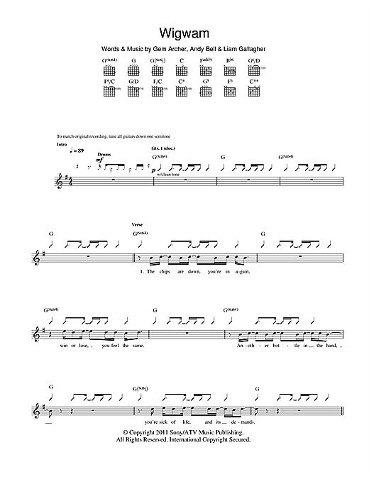 Beady Eye Wigwam sheet music notes and chords. Download Printable PDF.