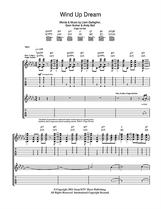 Beady Eye Wind Up Dream sheet music notes and chords. Download Printable PDF.