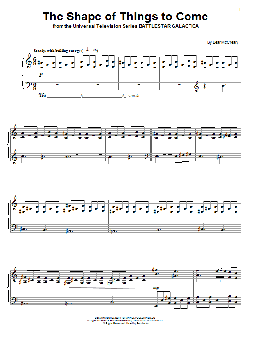 Bear McCreary The Shape Of Things To Come sheet music notes and chords. Download Printable PDF.