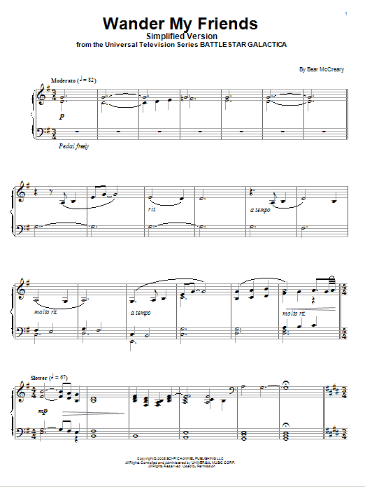 Bear McCreary Wander My Friends (Simplified Version) sheet music notes and chords. Download Printable PDF.