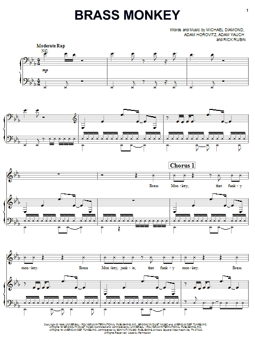 Beastie Boys Brass Monkey sheet music notes and chords. Download Printable PDF.
