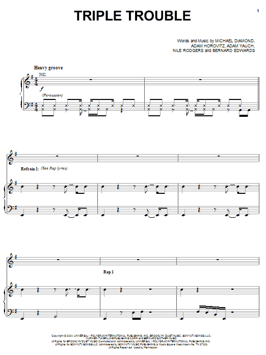 Beastie Boys Triple Trouble sheet music notes and chords. Download Printable PDF.