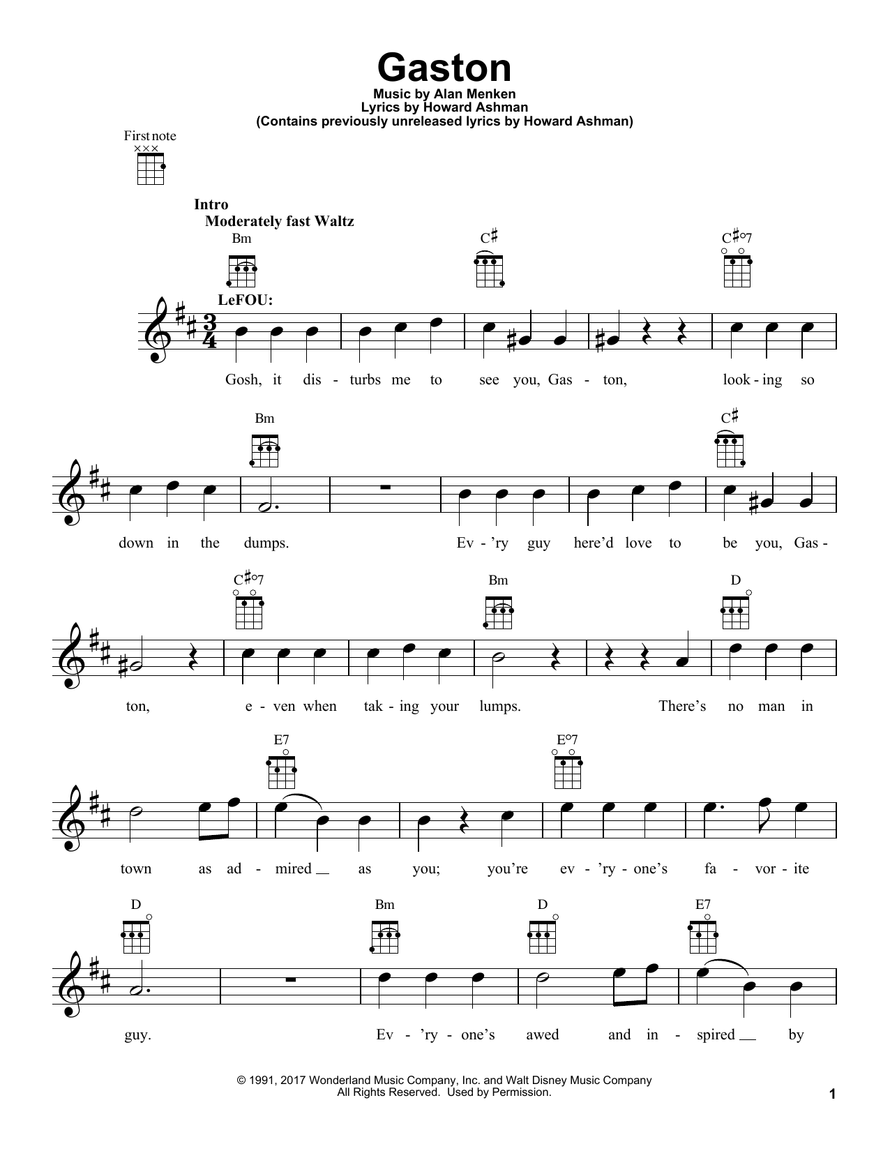 Beauty And The Beast Cast Gaston From Beauty And The Beast Sheet Music Pdf Notes Chords Children Score Piano Solo Download Printable Sku 188171