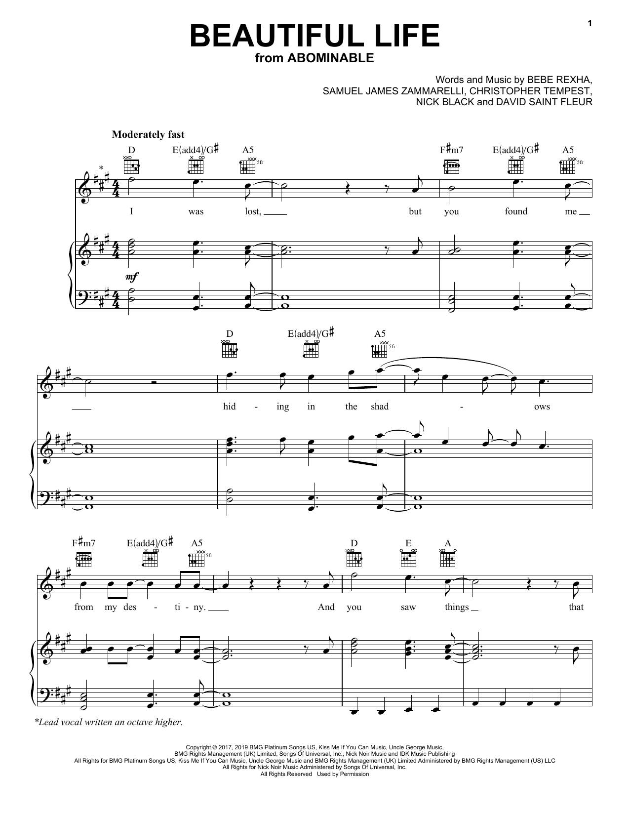 Bebe Rexha Beautiful Life (from the Motion Picture Abominable) sheet music notes and chords. Download Printable PDF.
