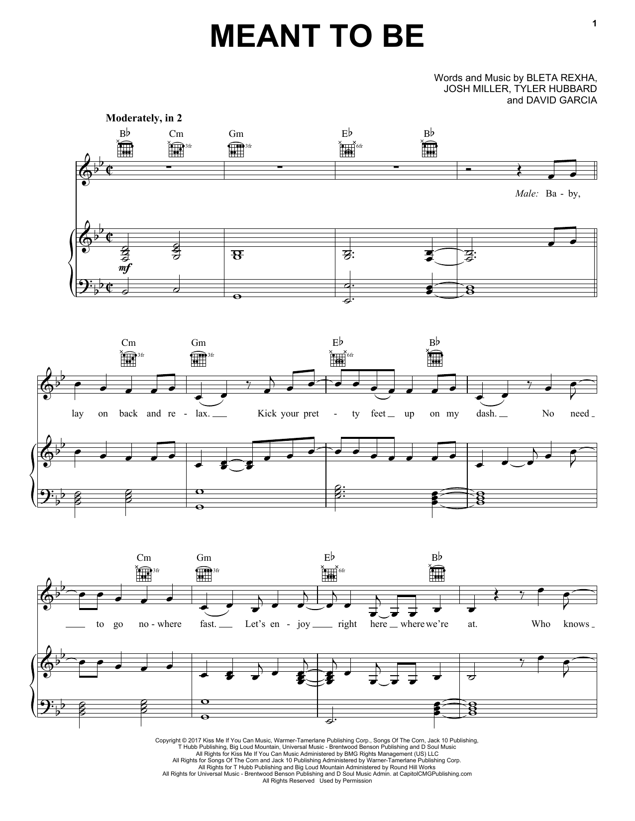 Bebe Rexha Meant To Be (feat. Florida Georgia Line) sheet music notes and chords