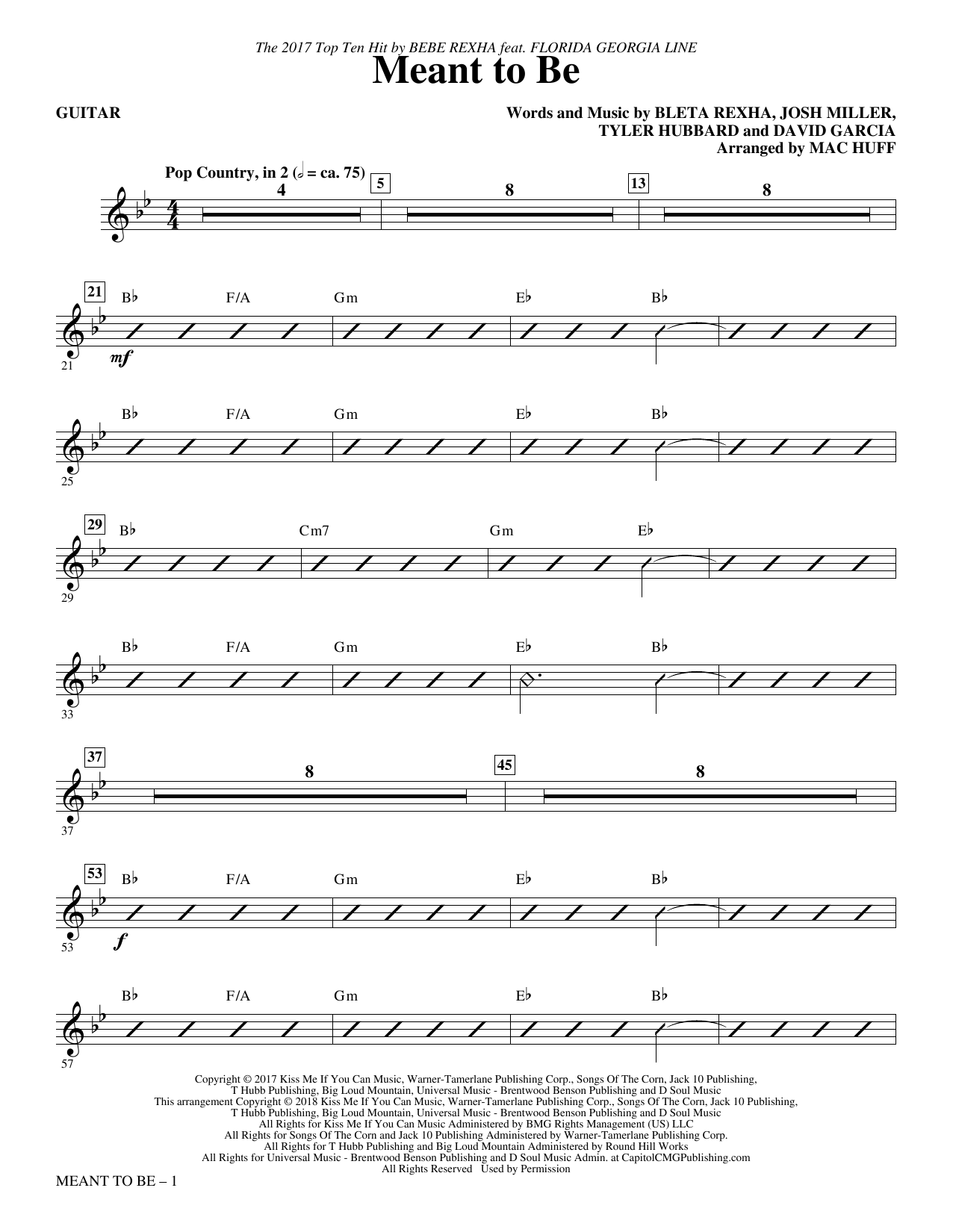Bebe Rexha Meant to Be (Feat. Florida Georgia Line) (arr. Mac Huff) - Guitar sheet music notes and chords. Download Printable PDF.