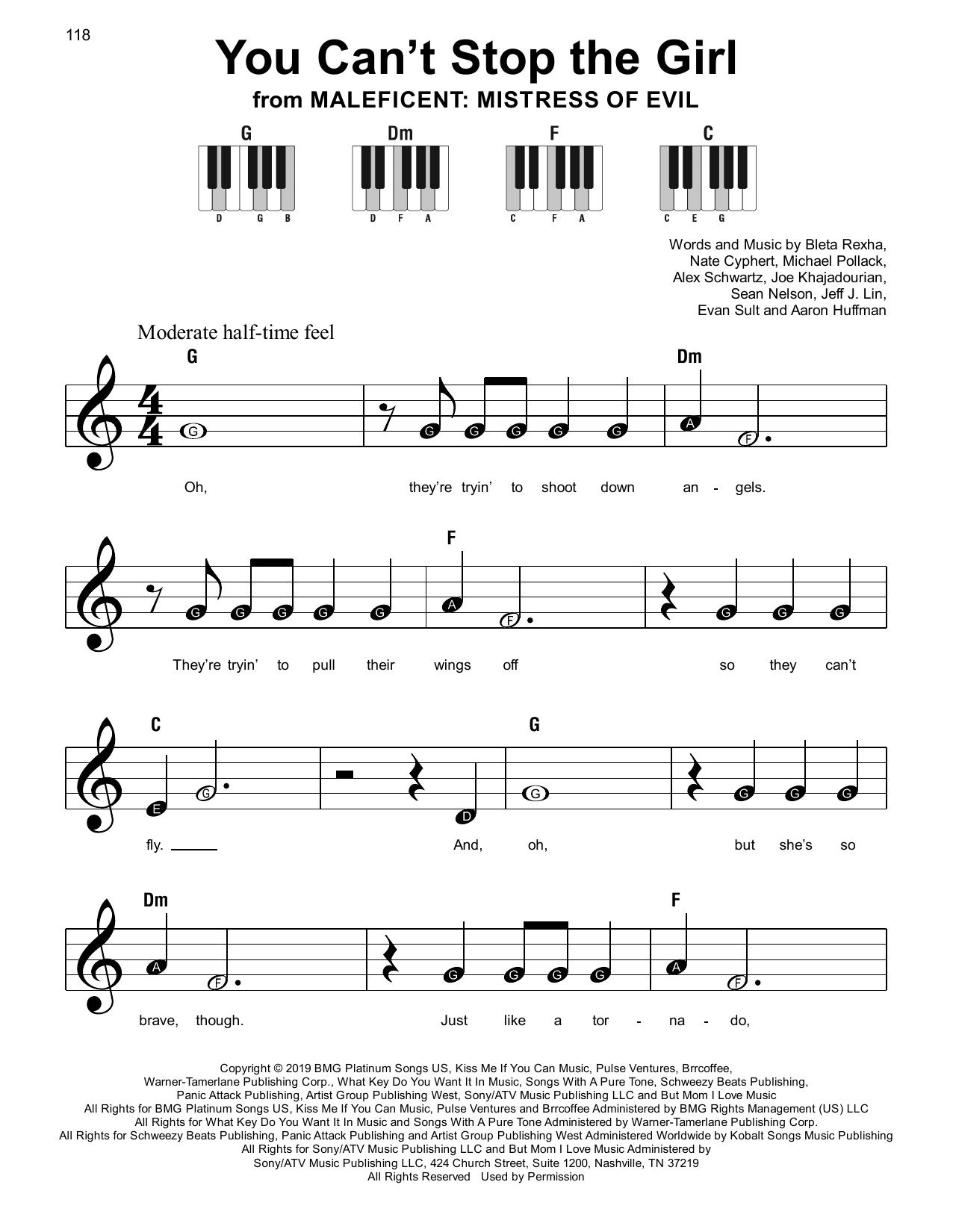 Bebe Rexha You Can't Stop The Girl sheet music notes and chords. Download Printable PDF.