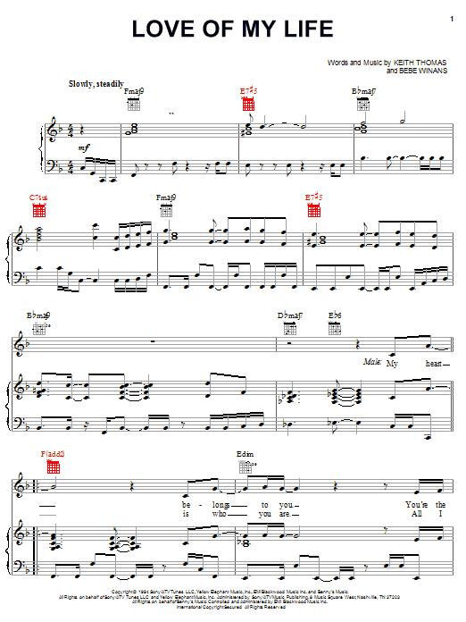BeBe Winans Love Of My Life sheet music notes and chords