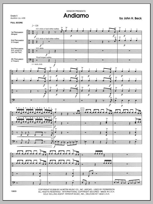 Beck Andiamo - Full Score sheet music notes and chords. Download Printable PDF.