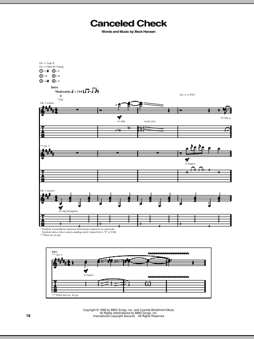 Beck Canceled Check sheet music notes and chords. Download Printable PDF.