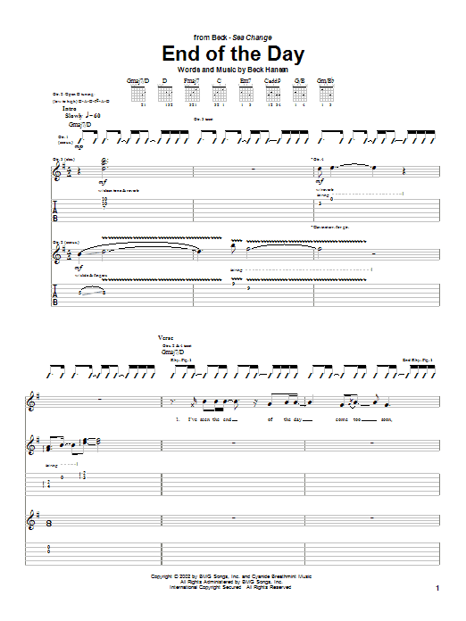 Beck End Of The Day sheet music notes and chords. Download Printable PDF.