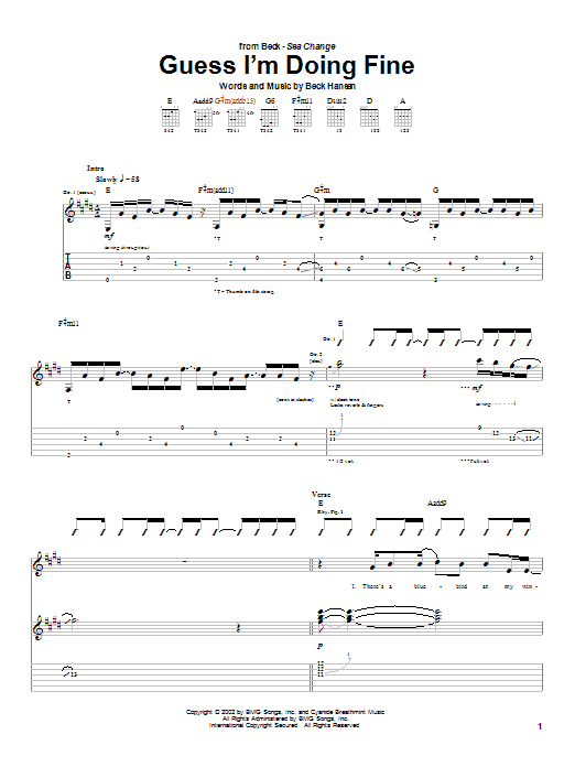 Beck Guess I'm Doing Fine sheet music notes and chords. Download Printable PDF.