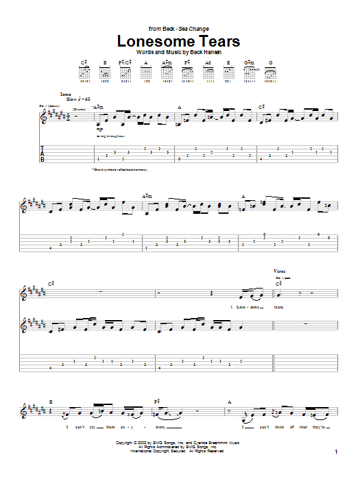 Beck Lonesome Tears sheet music notes and chords. Download Printable PDF.