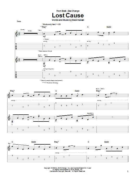Beck Lost Cause sheet music notes and chords. Download Printable PDF.