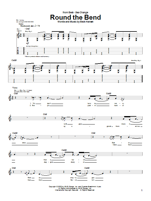 Beck Round The Bend sheet music notes and chords. Download Printable PDF.