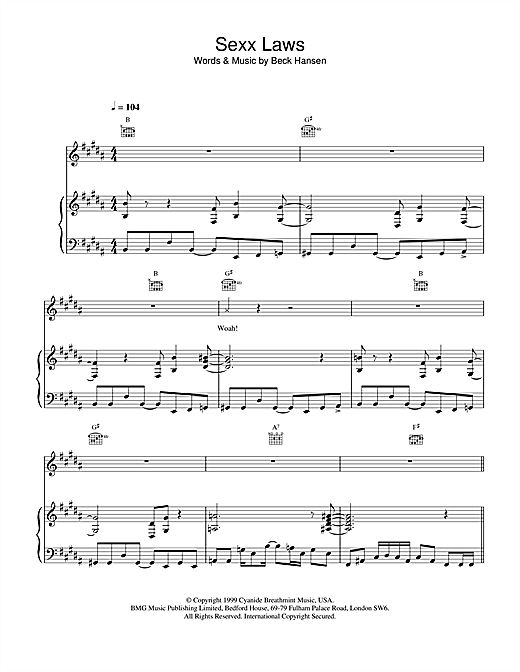 Beck Sexx laws sheet music notes and chords