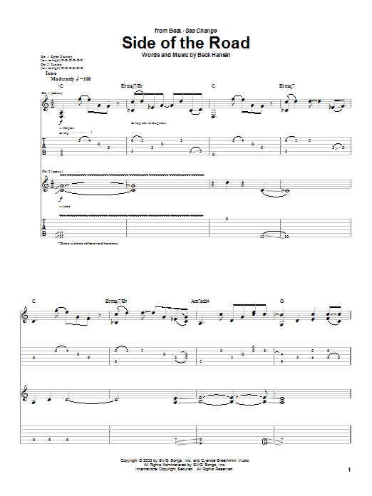 Beck Side Of The Road sheet music notes and chords. Download Printable PDF.
