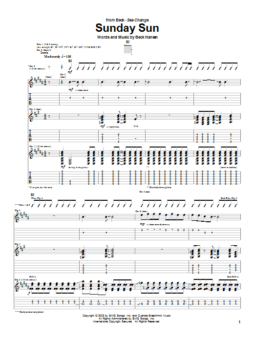 Beck Sunday Sun sheet music notes and chords. Download Printable PDF.
