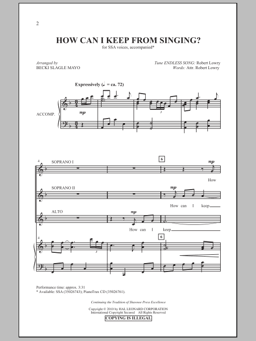 Becki Slagle Mayo How Can I Keep From Singing? sheet music notes and chords. Download Printable PDF.