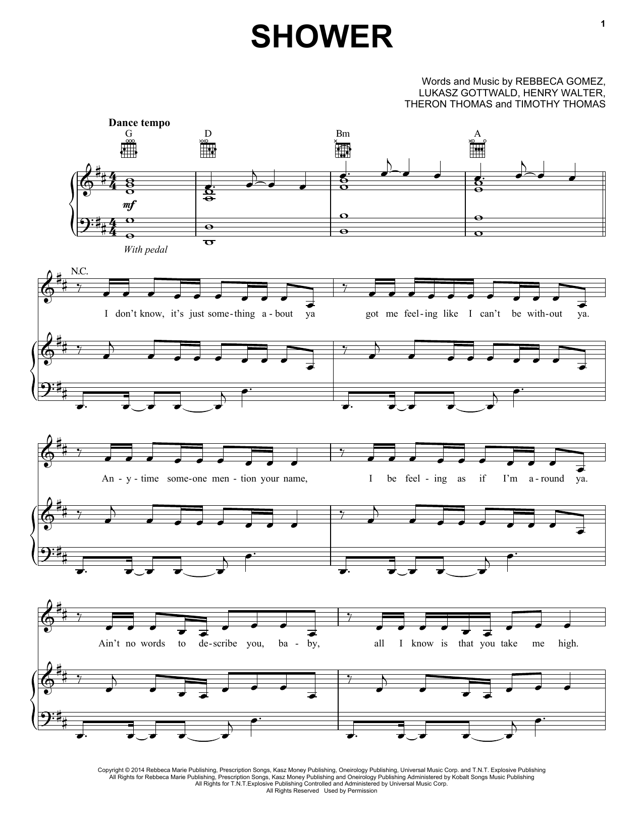 Becky G Shower sheet music notes and chords. Download Printable PDF.