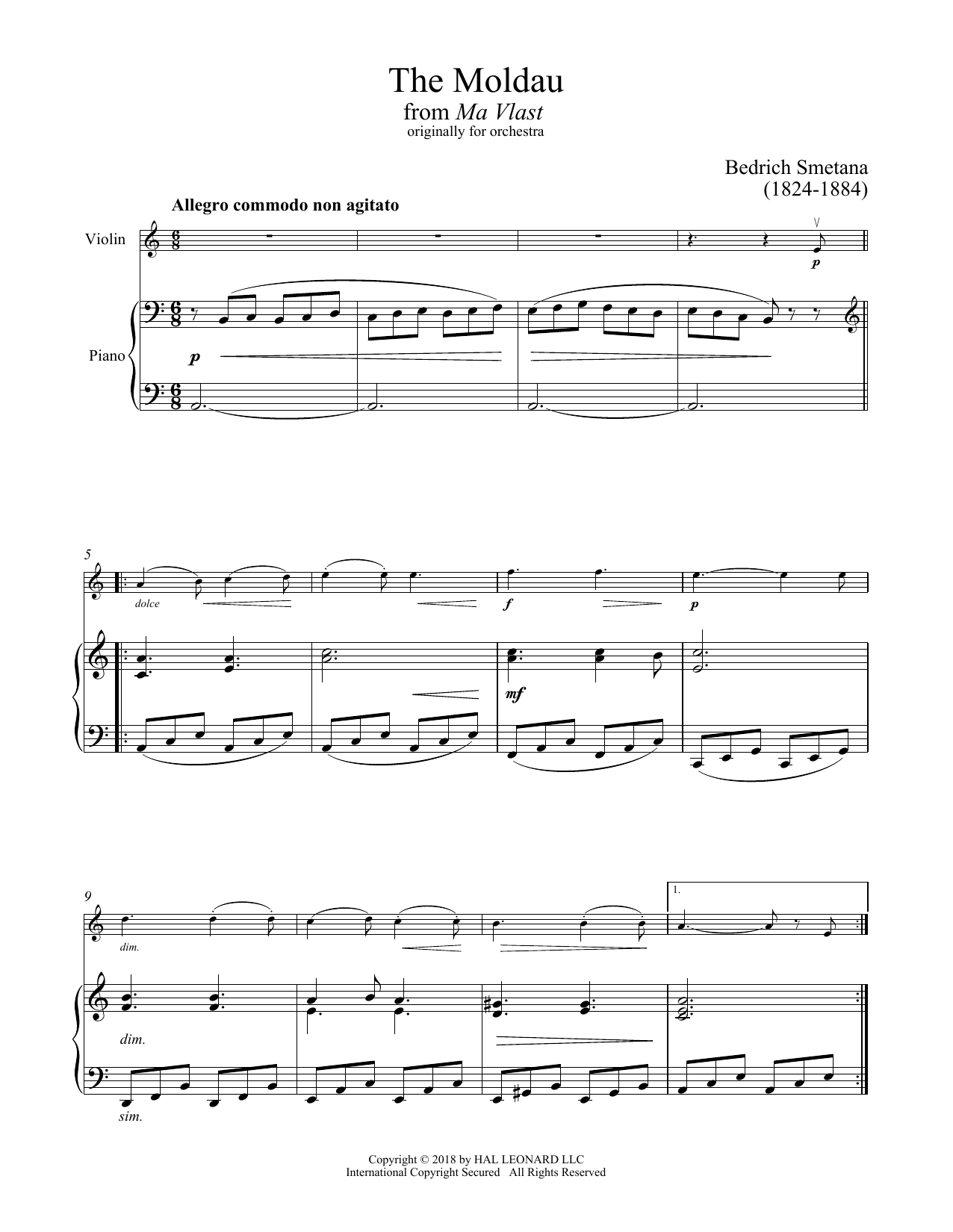 Bedřich Smetana The Moldau sheet music notes and chords. Download Printable PDF.