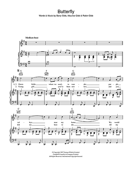 Bee Gees Butterfly sheet music notes and chords