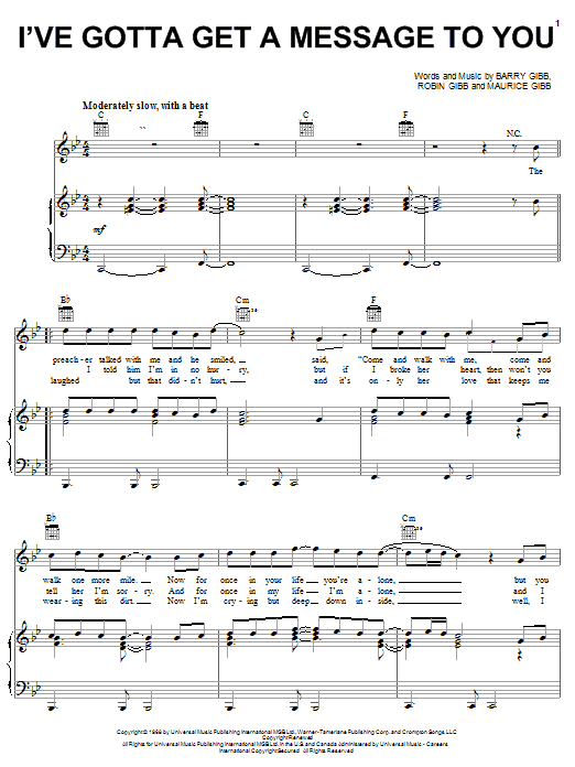 Bee Gees I've Gotta Get A Message To You sheet music notes and chords. Download Printable PDF.