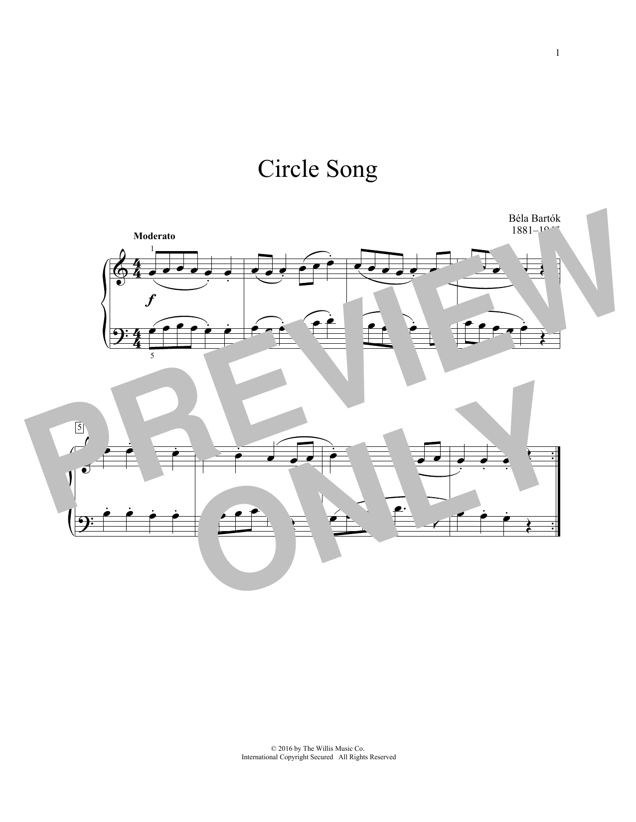 Bela Bartok Circle Song sheet music notes and chords. Download Printable PDF.