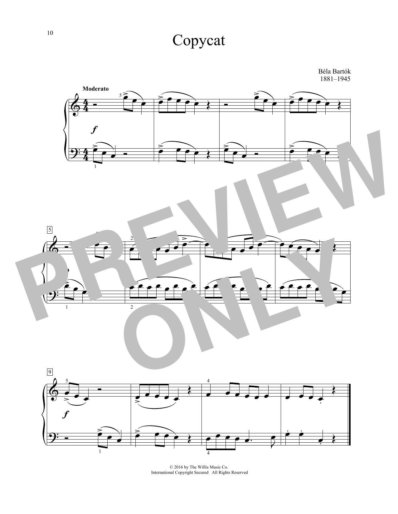 Bela Bartok Copycat sheet music notes and chords. Download Printable PDF.