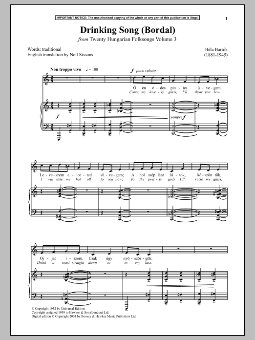 Bela Bartok Drinking Song (Bordal) (from Twenty Hungarian Folksongs Vol. 3) sheet music notes and chords