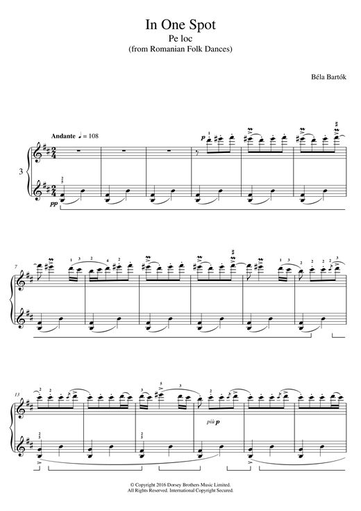 Bela Bartok In One Spot (from Romanian Folk Dances) sheet music notes and chords. Download Printable PDF.