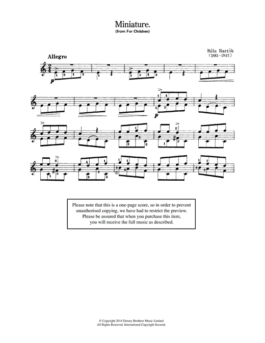 Bela Bartok Miniature (from 'For Children') sheet music notes and chords