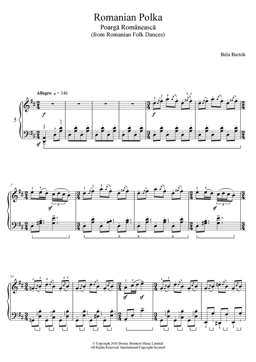 Bela Bartok Romanian Polka (from Romanian Folk Dances) sheet music notes and chords